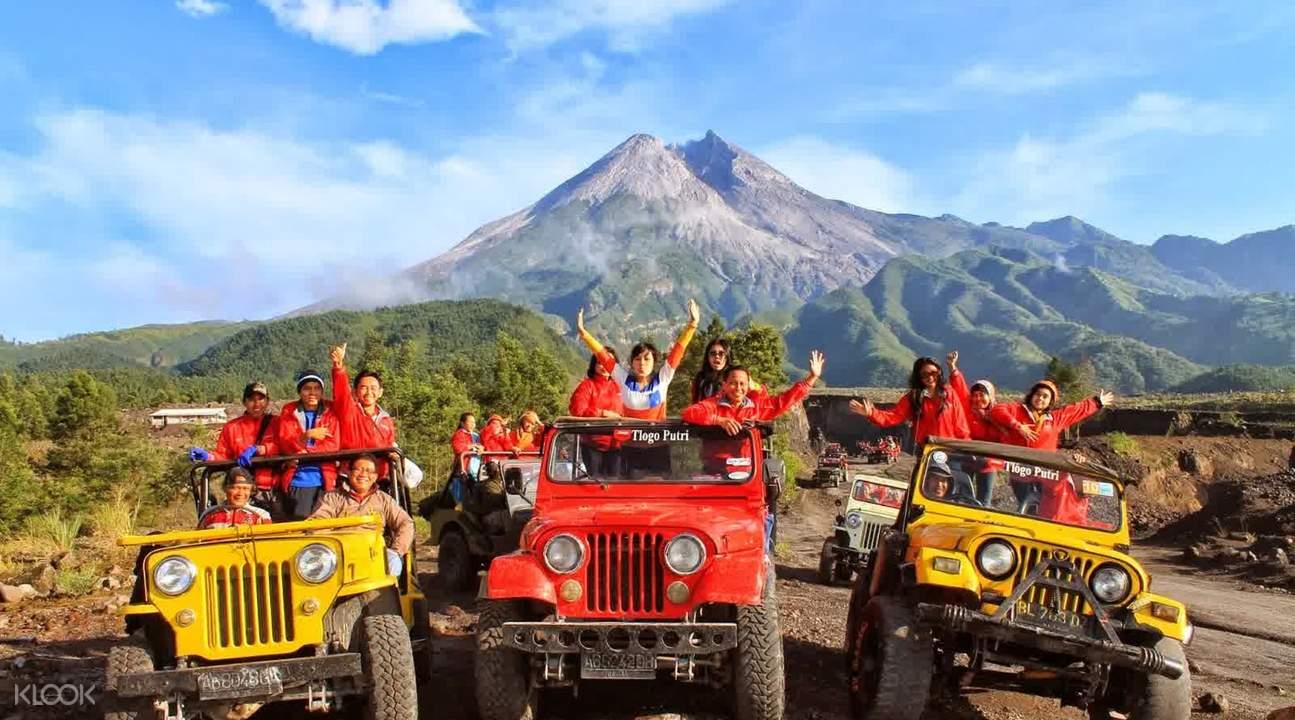 tourists riding on 3 jeeps